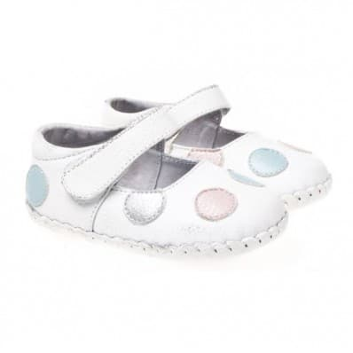 Little Blue Lamb- Baby girls first steps soft leather shoes | White with dots