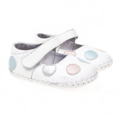 Little Blue Lamb - Chaussures premiers pas cuir souple | Babies blanches à pois