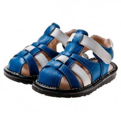 Little Blue Lamb - Chaussures à sifflet | Sandales blanches et bleues