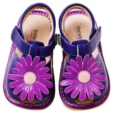 Little Blue Lamb - Squeaky Leather Toddler Girls Shoes | Purple marguerite