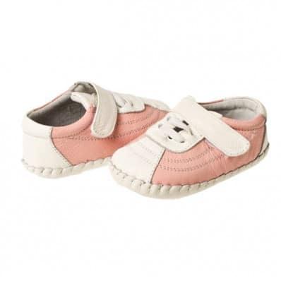 Little Blue Lamb - Zapatos de bebe primeros pasos de cuero niñas | Zapatillas de deporte rosas y blanca