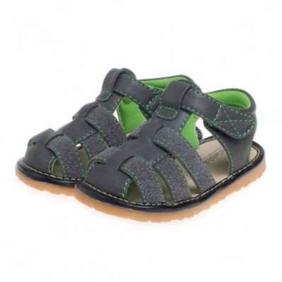 Little Blue Lamb - Squeaky Leather Toddler boys Shoes | Grey sandals