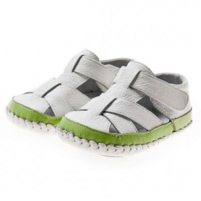 Little Blue Lamb - Baby boys first steps soft leather shoes | White and green sandals