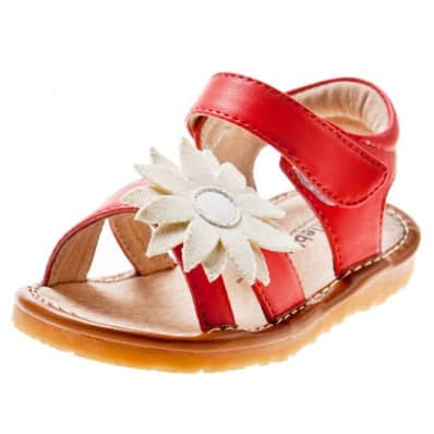Little Blue Lamb - Squeaky Leather Toddler Girls Shoes | Red white marguerite sandals