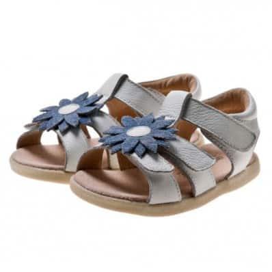 Little Blue Lamb - Chaussures semelle souple | Sandales blanches marguerite bleue