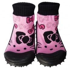 Chaussons-chaussettes enfant antidérapants semelle souple | Noir et rose chat noeud papillon