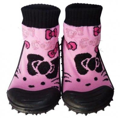 Calcetines con suela antideslizante para niñas | Negro y rosa gato pajarita
