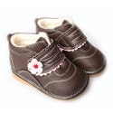 FREYCOO - Squeaky Leather Toddler Girls Shoes | Brown winter shoes pink flower