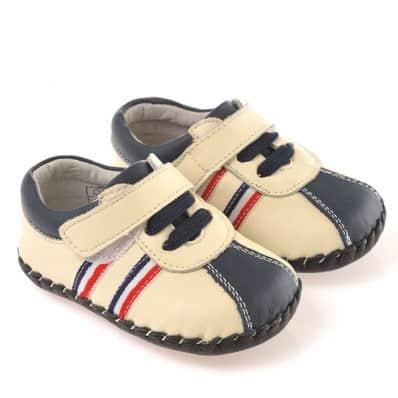 CAROCH - Chaussures premiers pas cuir souple | Baskets beige et bleu