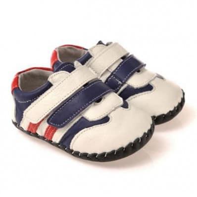 CAROCH - Chaussures premiers pas cuir souple | Baskets blanches rouge et bleu