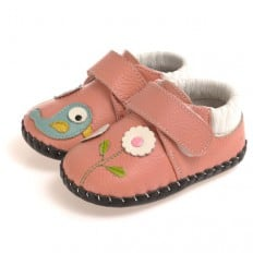 CAROCH - Baby girls first steps soft leather shoes | Pink with blue bird babies