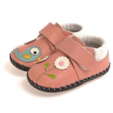 CAROCH - Zapatos de bebe primeros pasos de cuero niñas | Estilo colegial rosa ave azul