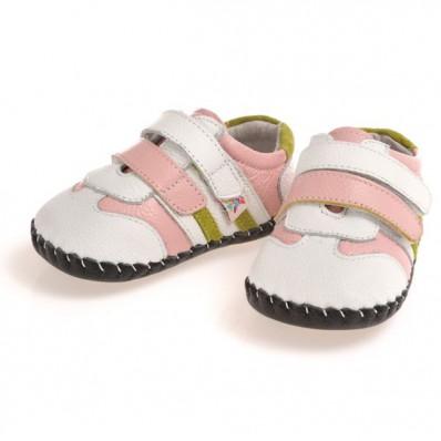 CAROCH - Chaussures premiers pas cuir souple | Baskets blanches rose et verte