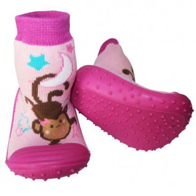 Baby girls Socks shoes with grippy rubber | Small monkey