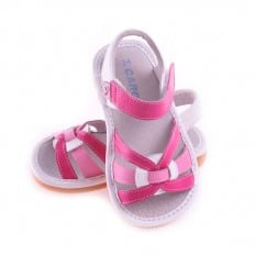 CAROCH - Squeaky Leather Toddler Girls Shoes | Pink sandals