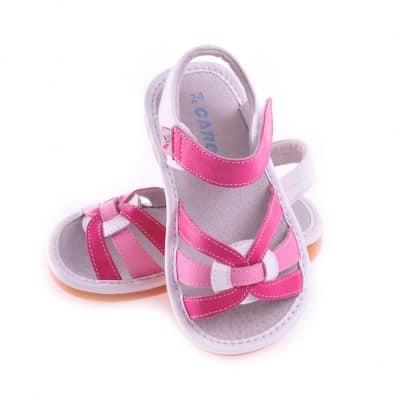 CAROCH - Krabbelschuhe Babyschuhe squeaky Leder - Mädchen | Weiße Sandalen und fushia