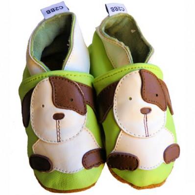 Chaussons bébé cuir souple | Petits chiens C2BB - chaussons, chaussures, chaussettes pour bébé