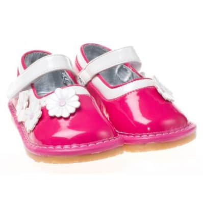 Little Blue Lamb - Squeaky Leather Toddler Girls Shoes | Babies pink white flower
