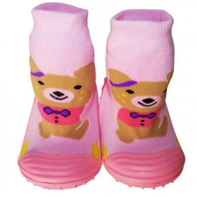 Chaussons-chaussettes enfant antidérapants semelle souple | Ourson marron