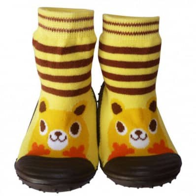 Baby boys Socks shoes with grippy rubber | Yellow animal