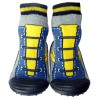 Baby boys Socks shoes with grippy rubber   Blue and yellow sneakers