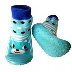 Hausschuhe - Socken Baby Kind geschmeidige Schuhsohle Junge | Blaues Tier