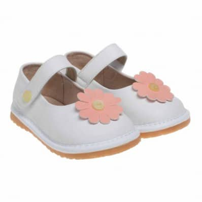 Little Blue Lamb - Squeaky Leather Toddler Girls Shoes | Babies white big pink flower