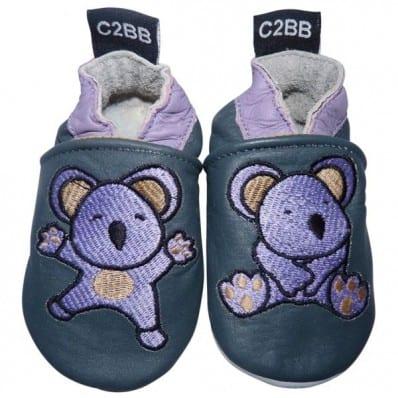 Chaussons bébé cuir souple | Koala brodé C2BB - chaussons, chaussures, chaussettes pour bébé