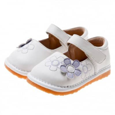 Little Blue Lamb - Squeaky Leather Toddler Girls Shoes | White with purple flower