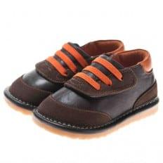 Little Blue Lamb - Squeaky Leather Toddler boys Shoes | Brown and orange sneakers