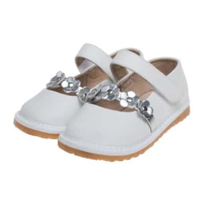 Little Blue Lamb - Zapatos de cuero chirriantes - squeaky shoes niñas | Babies blanca flores plateadas