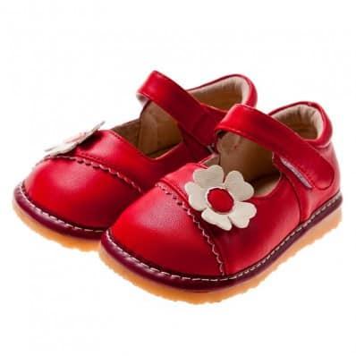 Little Blue Lamb - Scarpine bimba primi passi con fischietto | Babies rosso fiore rosa