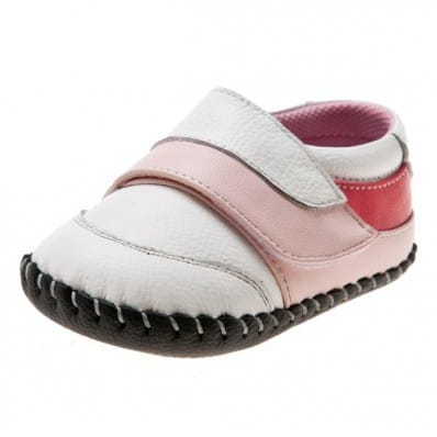 Little Blue Lamb- Baby girls first steps soft leather shoes | White babies pink velcro