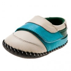 Little Blue Lamb - Baby boys first steps soft leather shoes | Beige blue velcro