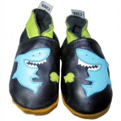 Chaussons bébé cuir souple | Requins bleus C2BB - chaussons, chaussures, chaussettes pour bébé