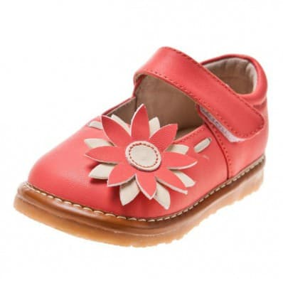 Little Blue Lamb - Squeaky Leather Toddler Girls Shoes | Pink babies with marguerite