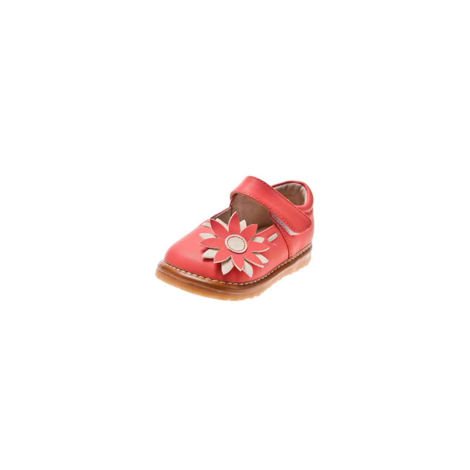 Squeaky Leather Toddler Girls Shoes | Pink babies with marguerite