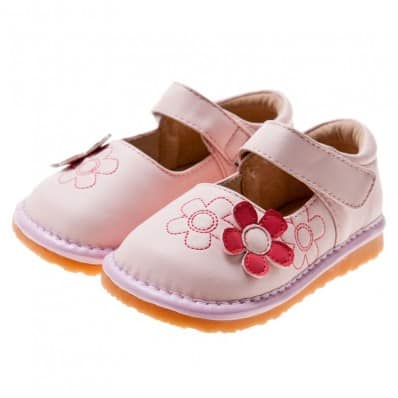 Little Blue Lamb - Squeaky Leather Toddler Girls Shoes | Pink with red flower