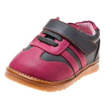 Little Blue Lamb - Squeaky Leather Toddler Girls Shoes | Pink and grey sneakers