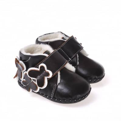 CAROCH - Baby girls first steps soft leather shoes | Brown filled bootees
