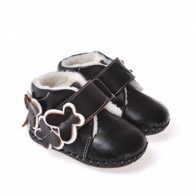 CAROCH - Chaussures premiers pas cuir souple | Montantes fourrées marron