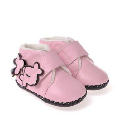 CAROCH - Krabbelschuhe Babyschuhe Leder - Mädchen | Gefüllte stiefel rosa