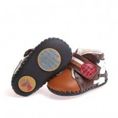 CAROCH - Chaussures premiers pas cuir souple | Montantes fourrées marron petit chien