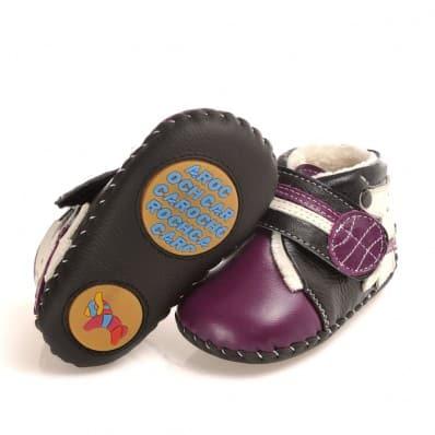 CAROCH - Zapatos de bebe primeros pasos de cuero niñas   Botines forradas violetas pequeño perro