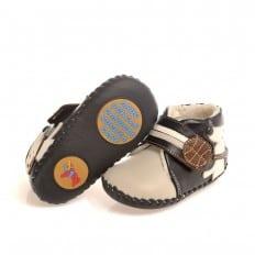 CAROCH - Zapatos de bebe primeros pasos de cuero niños | Botines forradas grisea pequeño perro
