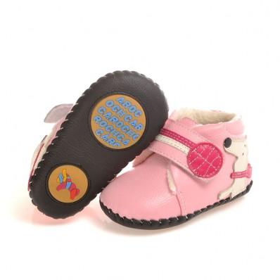 CAROCH - Chaussures premiers pas cuir souple | Montantes fourrées rose petit chien