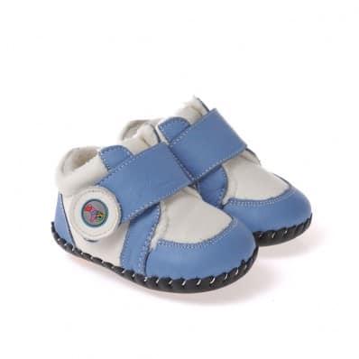 CAROCH - Krabbelschuhe Babyschuhe Leder - Jungen   Blau und weiß gefüllte sneakers