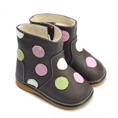 FREYCOO - Squeaky Leather Toddler Girls Shoes | Brown winter boots