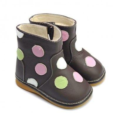 FREYCOO - Zapatos de cuero chirriantes - squeaky shoes niñas | Botas marrones con lunares