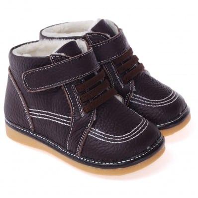 CAROCH - Krabbelschuhe Babyschuhe squeaky Leder - Jungen | Marone gefüllte stiefel